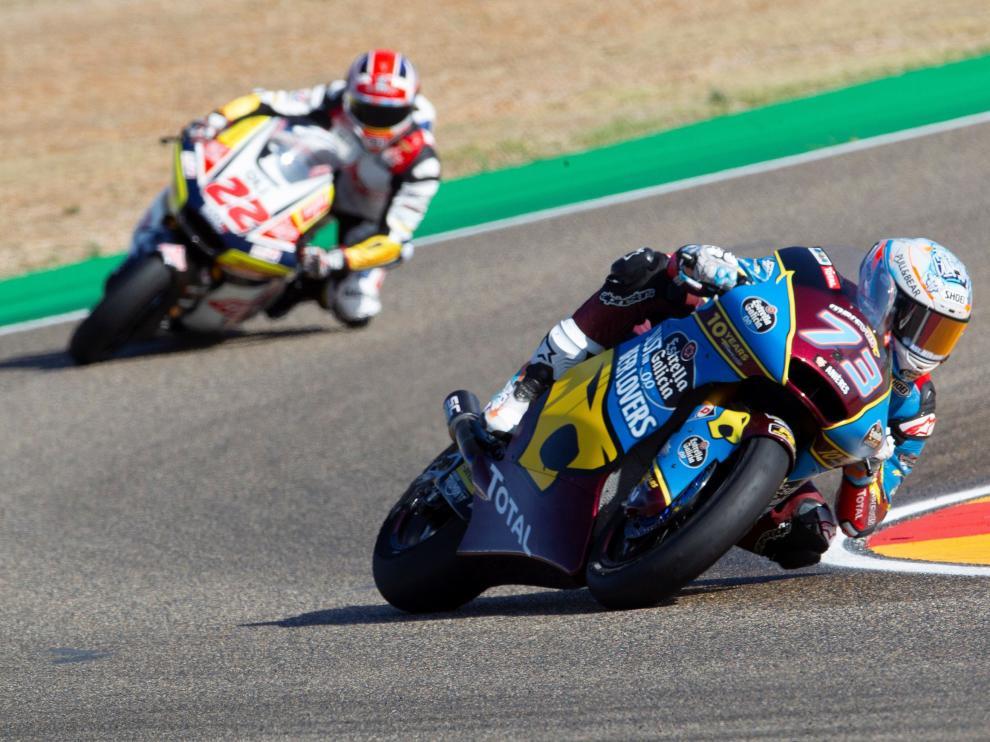 El piloto español Alex Márquez durante los entrenamientos libres de Moto2.