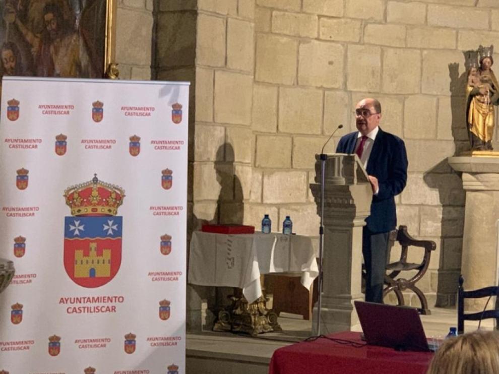Javier Lambán en la inauguración de las I Jornadas de la Orden de San Juan de Jerusalén, en Castiliscar.