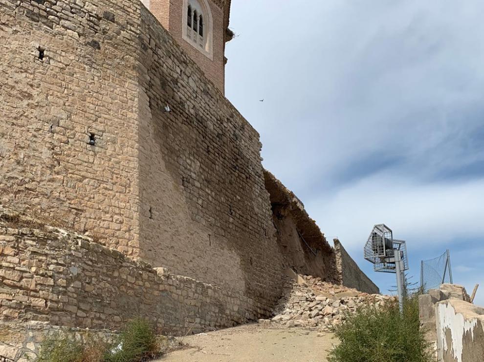 Estado en el que se encuentra el muro frontal del Piquete tras el derrumbe del 30 de julio.