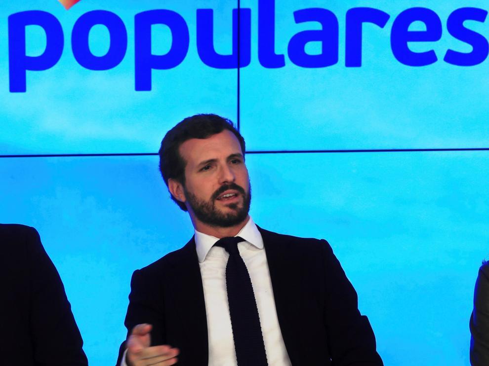 Pablo Casado, este lunes en una reunión en la sede del PP.