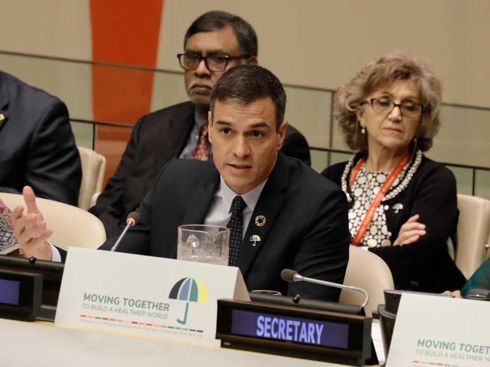 Pedro Sánchez durante una reunión en la ONU.