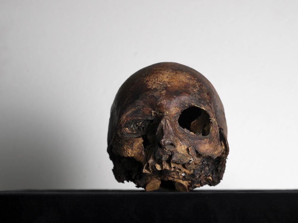 El cráneo del Papa Luna, que fue robado en el Palacio de Argillo de Sabiñán en el año 2000, está depositado en el Museo Provincial de Zaragoza.