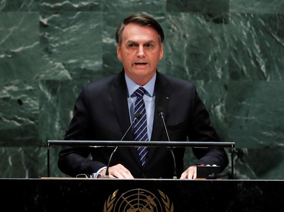 El presidente de Brasil, Jair Bolsonaro, en la 74ª Asamblea General de la ONU.
