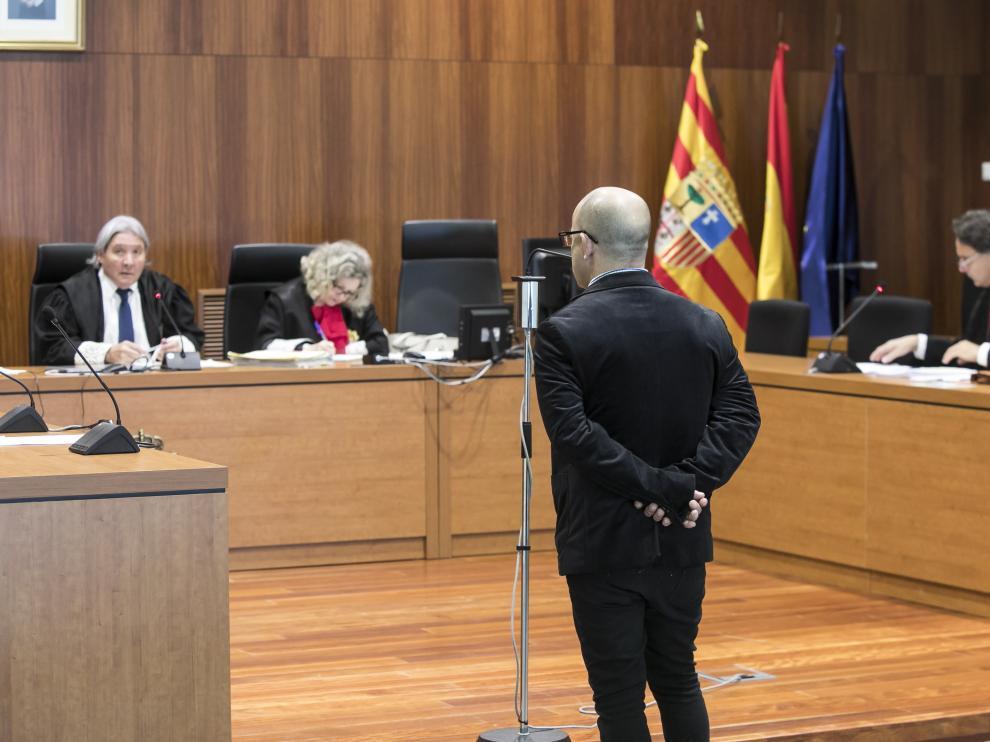 El acusado, este miércoles, en la Audiencia Provincial de Zaragoza.