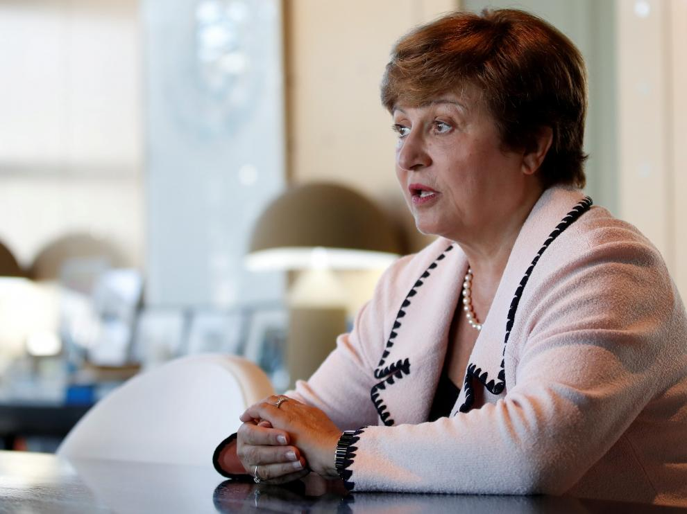 FILE PHOTO: Kristalina Georgieva, World Bank CEO and European candidate to become the new head of the IMF, attend a meeting with French Finance Minister Bruno Le Maire (not seen) at the Bercy Finance Ministry in Paris, France, August 23, 2019. REUTERS/Gonzalo Fuentes/File Photo [[[REUTERS VOCENTO]]] IMF-GEORGIEVA/