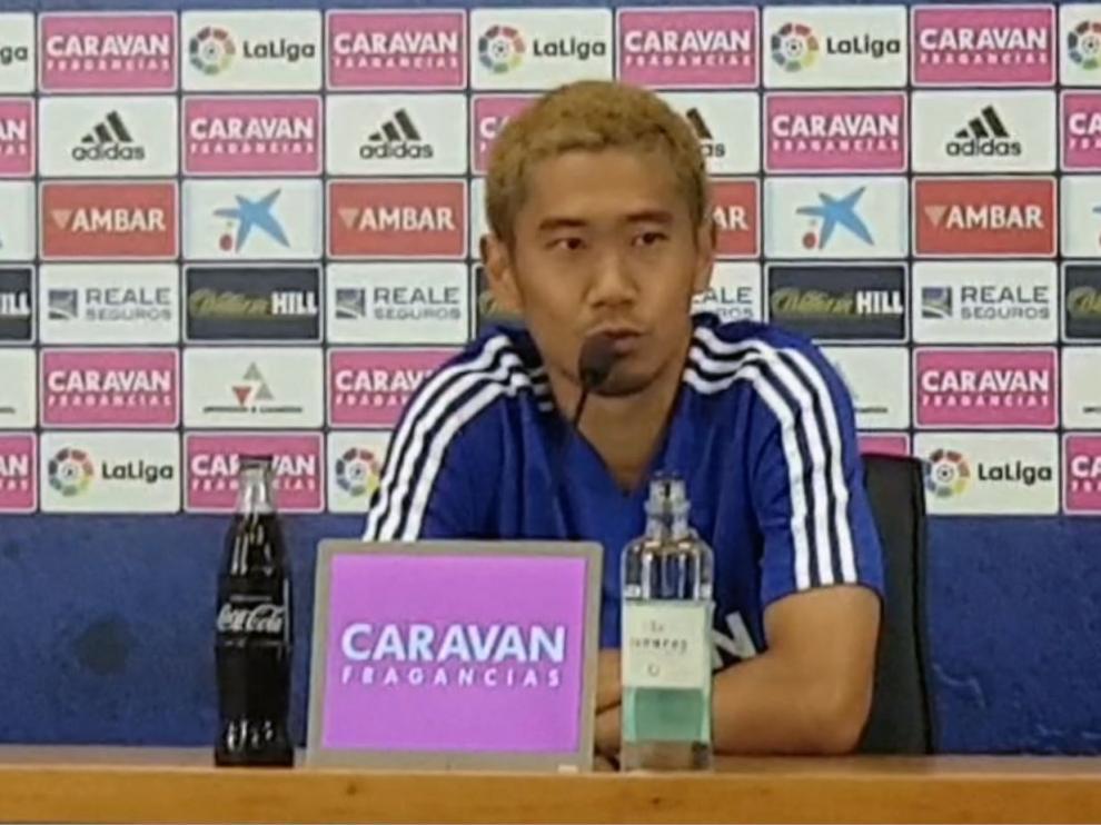 Kagawa, al mediodía de este jueves, en su comparecencia ante la prensa en La Romareda.