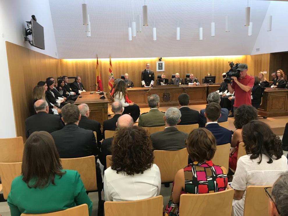 El fiscal jefe, Juan Baratech, durante su intervención en el a acto de apertura del Año Judicial de Huesca.