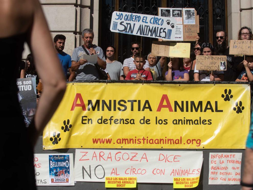 Protesta de los colectivos animalistas contra el retorno de los circos con animales a Zaragoza.