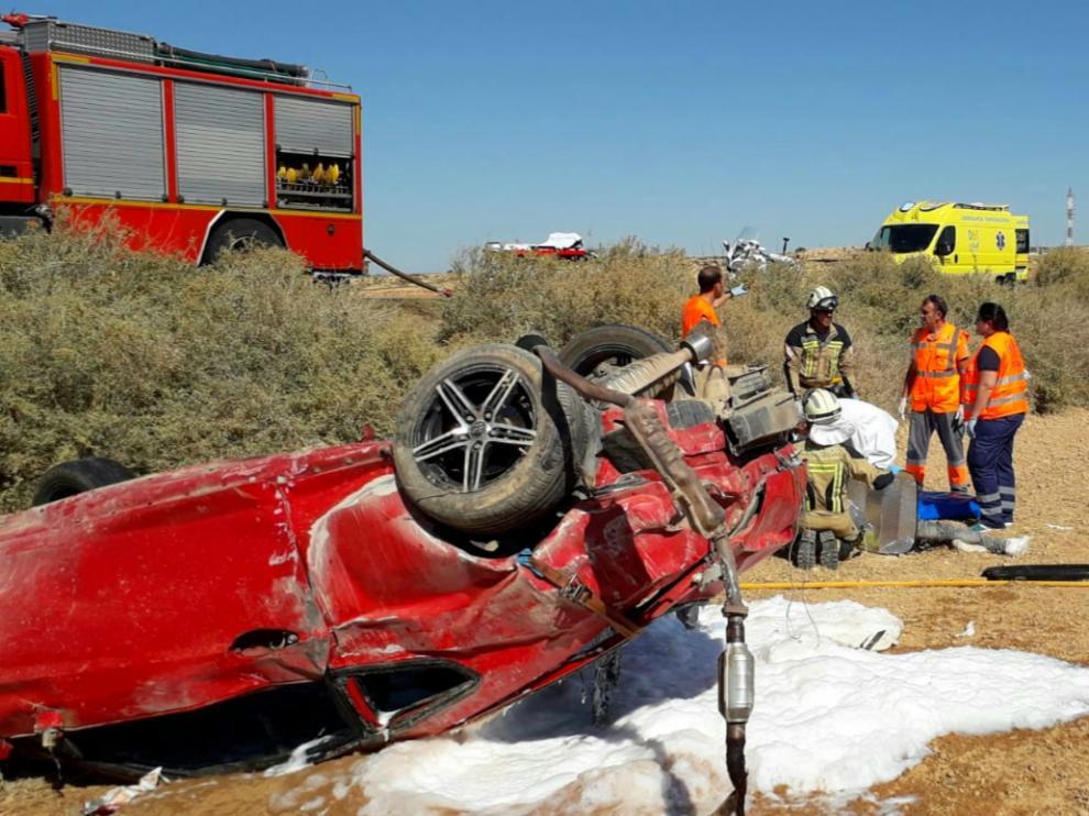 Accidente en Caspe con dos heridos.