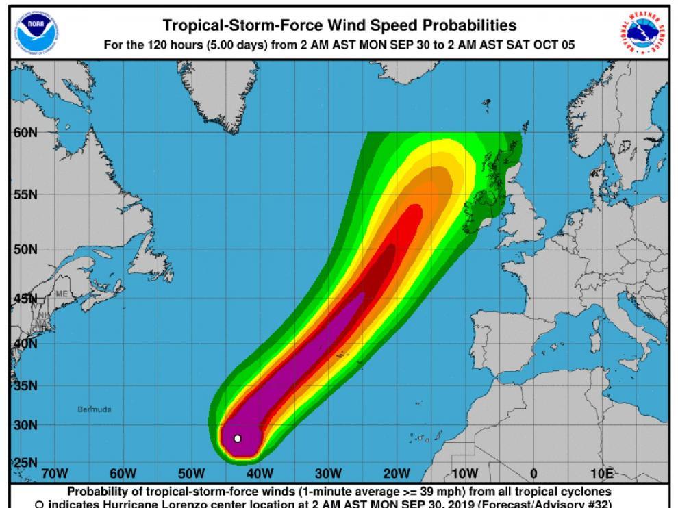La trayectoria estimada del huracán Lorenzo, según el Centro Nacional de Huracanes de EE. UU.