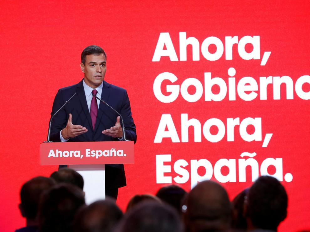 Pedro Sánchez ha presentado este lunes el lema de su campaña.