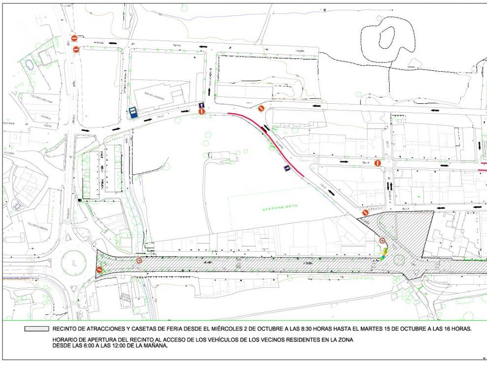 Plano del recinto ferial que se habilitará para las fiestas del Pilar.