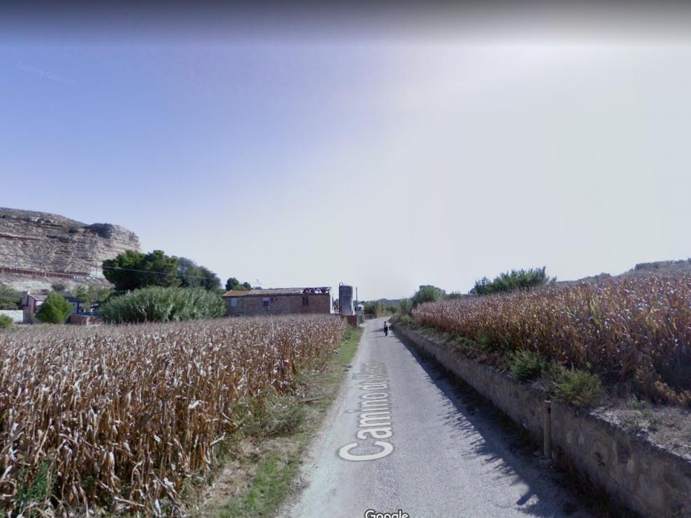 Una imagen del camino de Rimer, en la localidad zaragozana de Caspe, donde ha muerto este jueves una persona arrollada por una máquina agrícola mientras trabajaba en un campo de maíz.