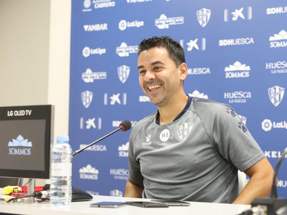 Míchel Sánchez, durante la rueda de prensa previa al choque con el Málaga.