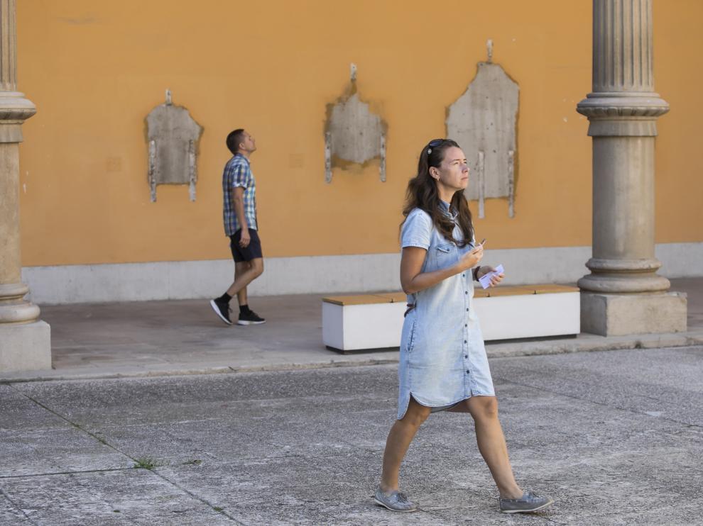 PATIO DEL MUSEO DE ZARAGOZA / PREPARATIVOS Y RECOGIDA DE OBRAS DE ARTE QUE VA A HACER EL MINISTERIO DE CULTURA / 04/10/2019 / FOTO : OLIVER DUCH [[[FOTOGRAFOS]]]