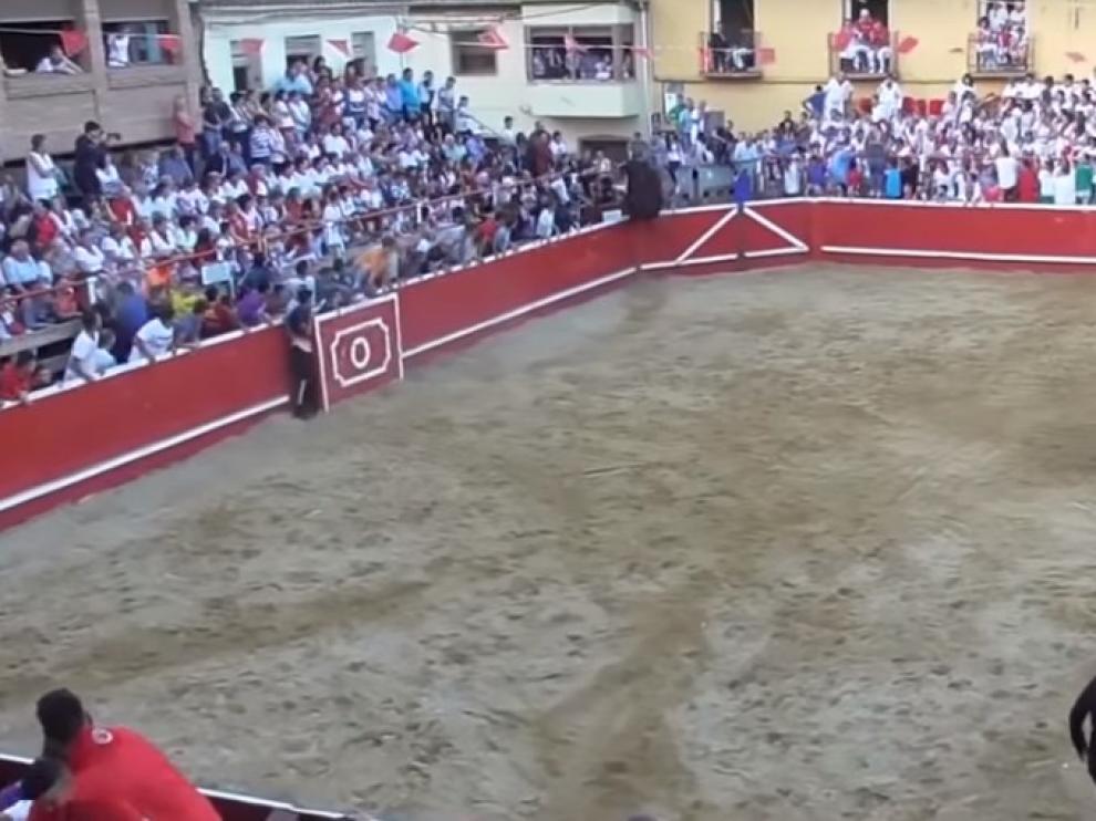 Un vecino de Mallén resulta herido en la plaza de toros de Cortes de Navarra.