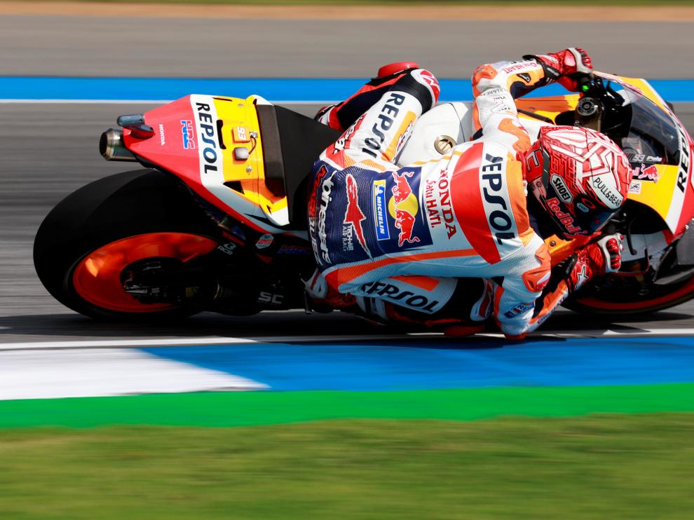 Motorcycling - MotoGP - Thailand Grand Prix - Chang International Circuit, Buriram, Thailand - October 6, 2019 Repsol Honda's Marc Marquez in action during the race REUTERS/Soe Zeya Tun [[[REUTERS VOCENTO]]] MOTOR-MOTOGP-THAILAND/