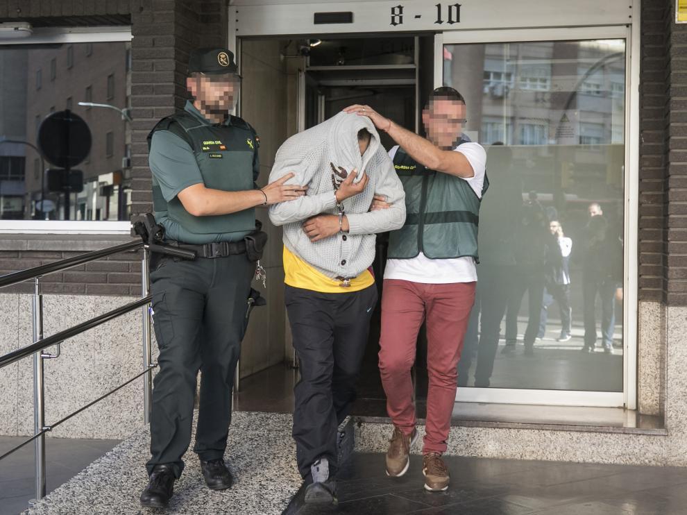 PASAN A DISPOSICION JUDICIAL LOS DETENIDOS POR EL CRIMEN DE PEDROLA / COMANDANCIA DE LA GUARDIA CIVIL ( ZARAGOZA ) / ....PIXELAR CARAS DE LA GUARDIA CIVIL .... / 05/10/2019 / FOTO : OLIVER DUCH [[[FOTOGRAFOS]]]