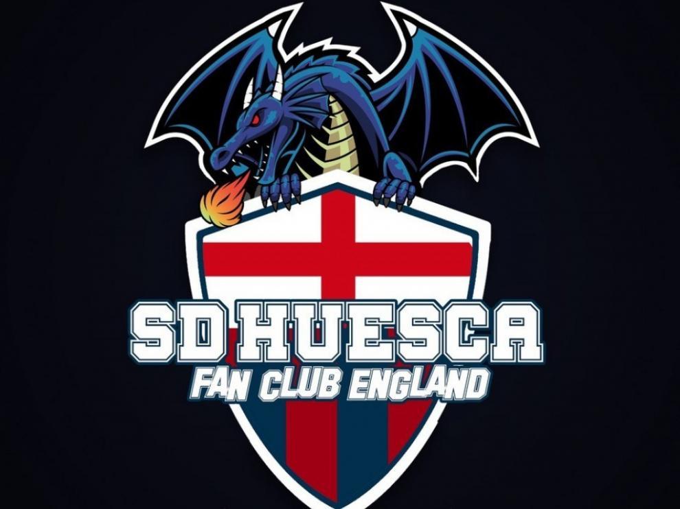 Escudo de la peña británica de la SD Huesca.