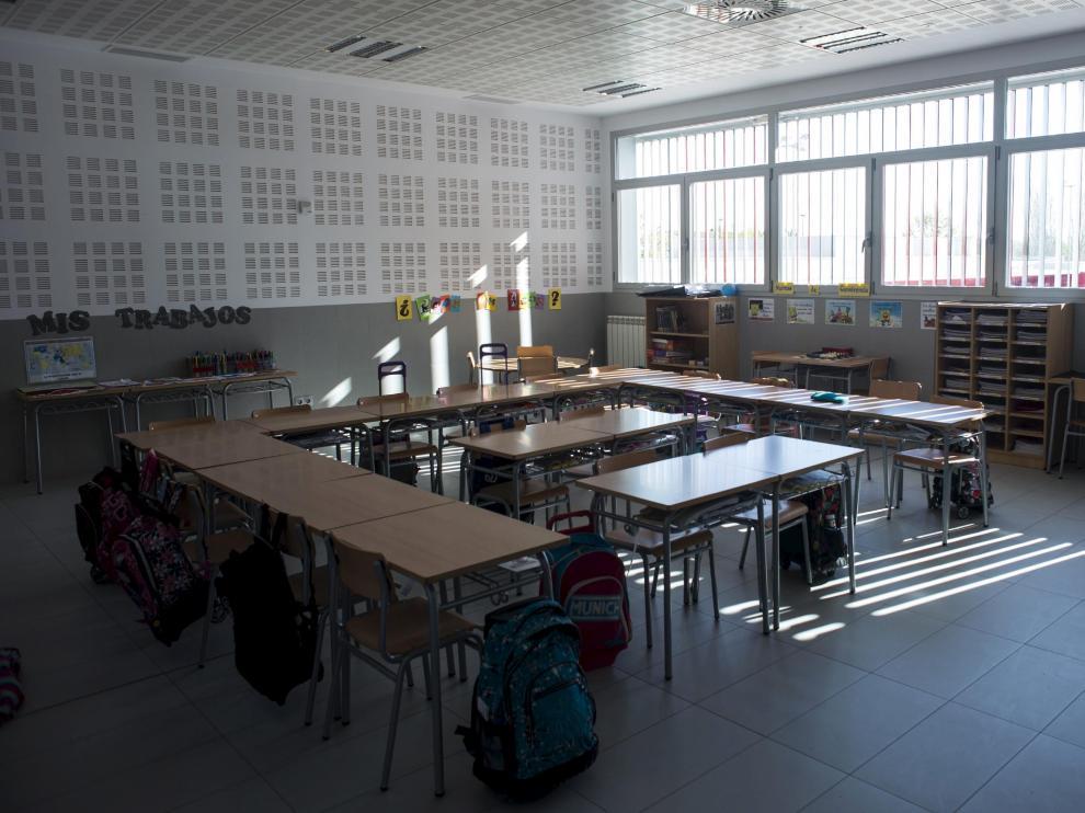 Aula vacía en un colegio de Zaragoza.