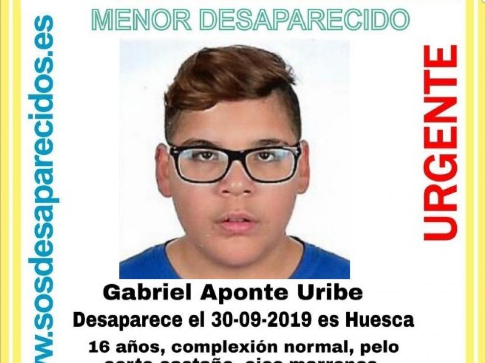 Buscan a Gabriel Aponte, un joven de 16 años desaparecido en Huesca.