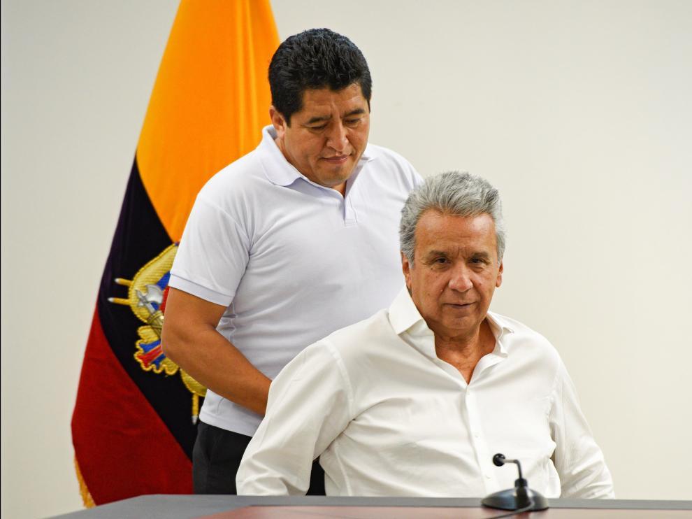 Conferencia de prensa del presidente de Ecuador, Lenin Moreno.