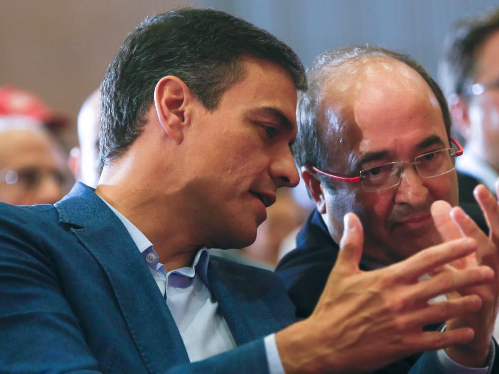 Sánchez, junto a Iceta en un acto en Barcelona