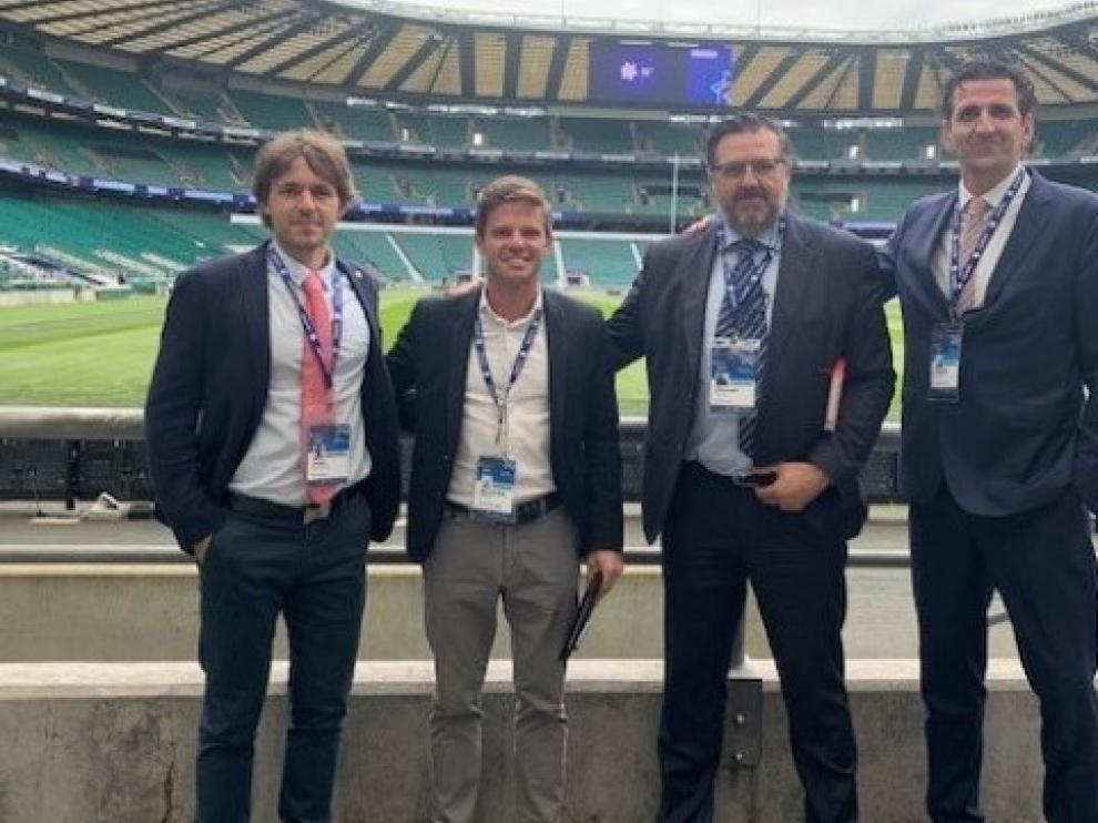 De izquierda a derecha: Ortas, Pueyo, Torres y Oliván, en Londres.