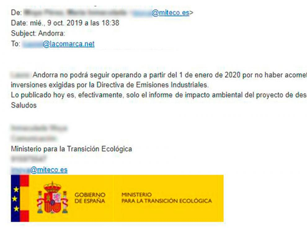 Email enviado al diario La Comarca desde el Ministerio para la Transición Ecológica