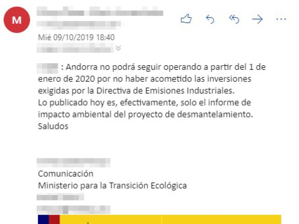 Email enviado este miércoles desde el Ministerio para la Transición Ecológica a HERALDO DE ARAGÓN