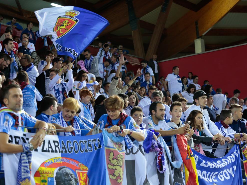 La afición del Zaragoza, el año pasado en Los Pajaritos.