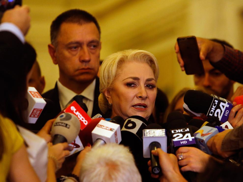 La primera ministra, Viorica Dancila, tras la caída de su gobierno en una moción de censura.