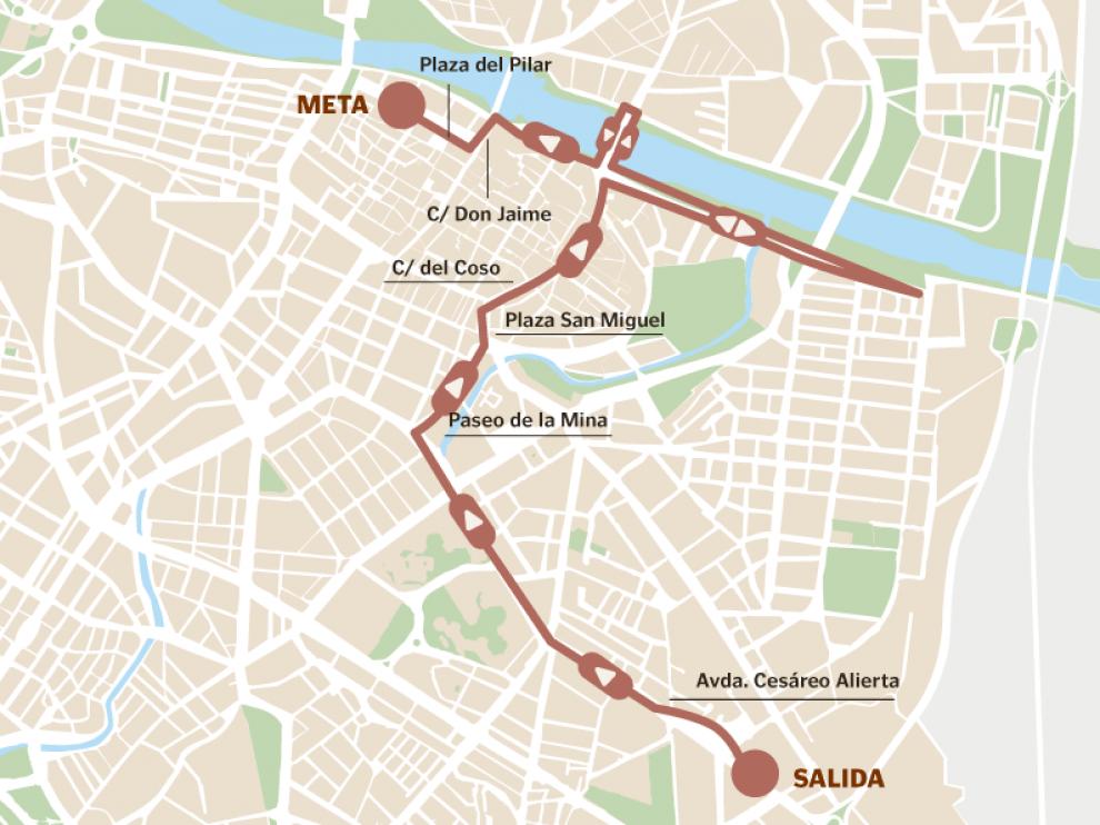 Recorrido de la Carrera de la Mujer 2019 en Zaragoza