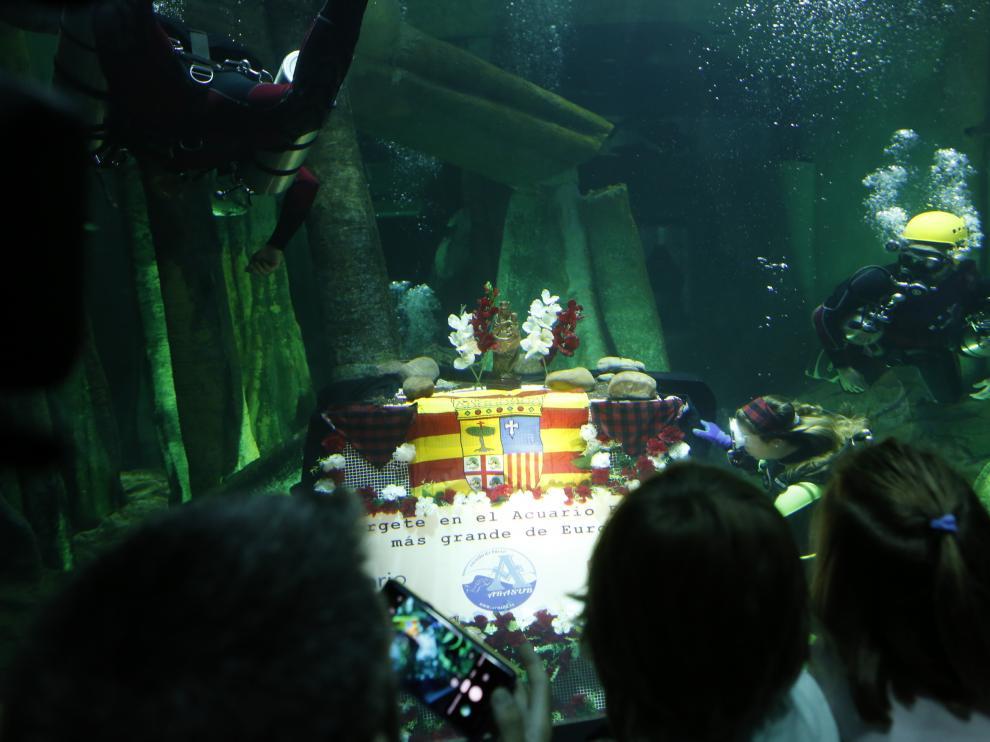 Ofrenda subacuática en el Acuario de Zaragoza
