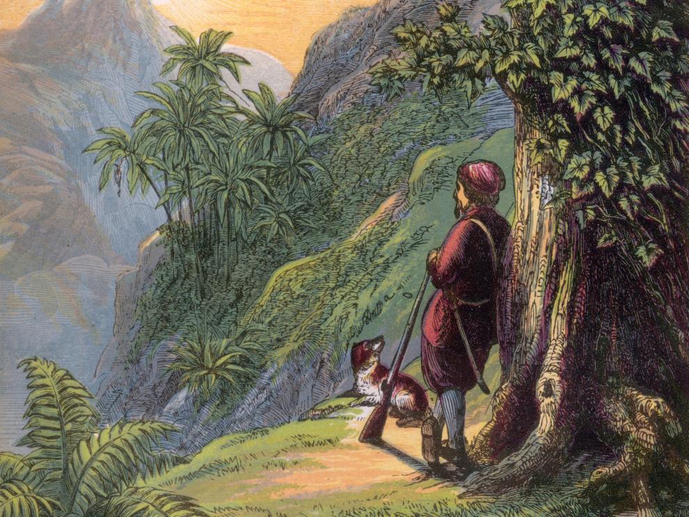 Ilustración clásica sacada de una de las ediciones antiguas de 'Robinson Crusoe'