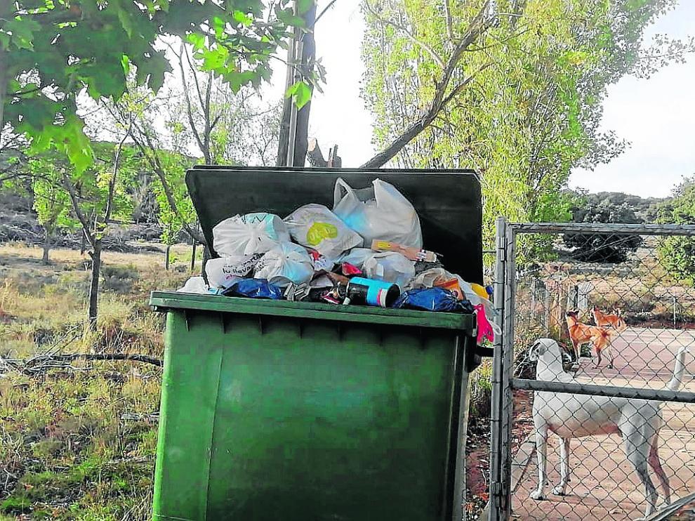 El contenedor del albergue de Utrillas, lleno de bolsas de basura.