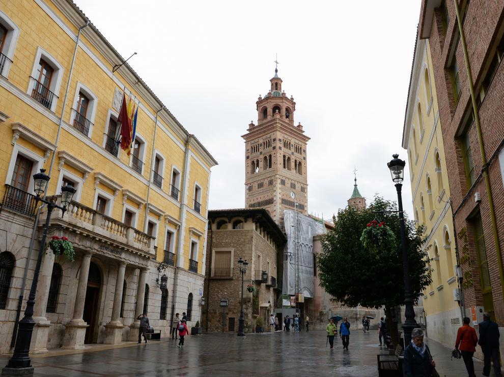 La torre de la catedral de Teruel tras la restauración de su exterior.