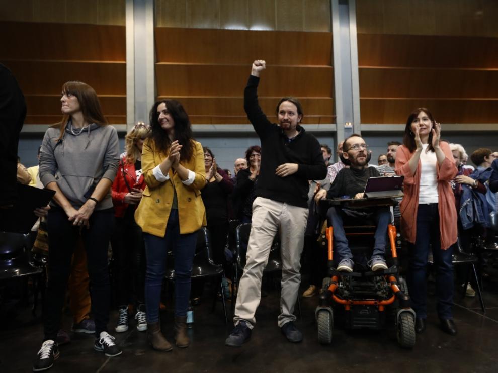 """El secretario general de Podemos y candidato a la presidencia del Gobierno, Pablo Iglesias, ha afirmado este martes que el PSOE y el PP trabajan en un acuerdo de gran coalición y que tiene la impresión de que la sentencia del """"procés"""" es """"la excusa perfecta"""" del PSOE para gobernar con el PP."""