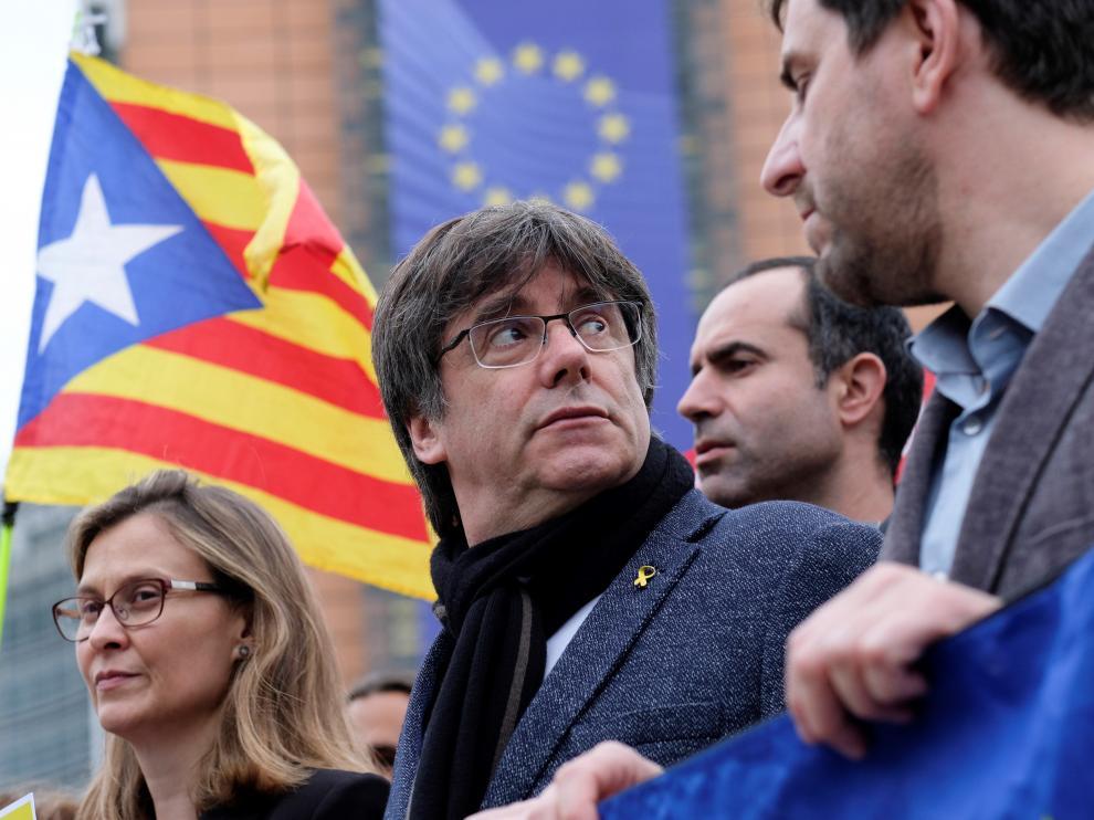 Carles Puigdemont durante una protesta en Bruselas contra la sentencia del 'procés'.