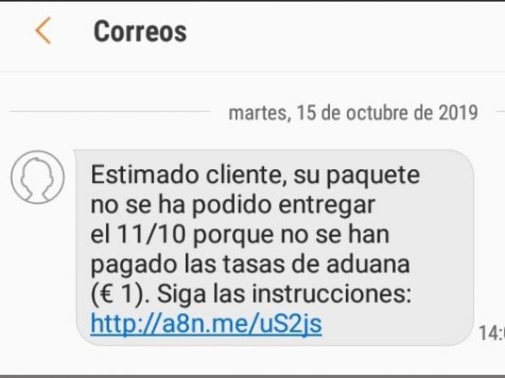 Si te llega un SMS de Correos para que pinches a un enlace no lo hagas, es una estafa