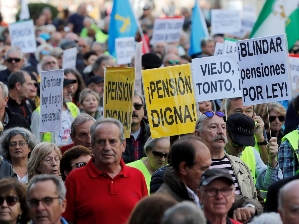 Manifestación de pensionistas en Madrid.