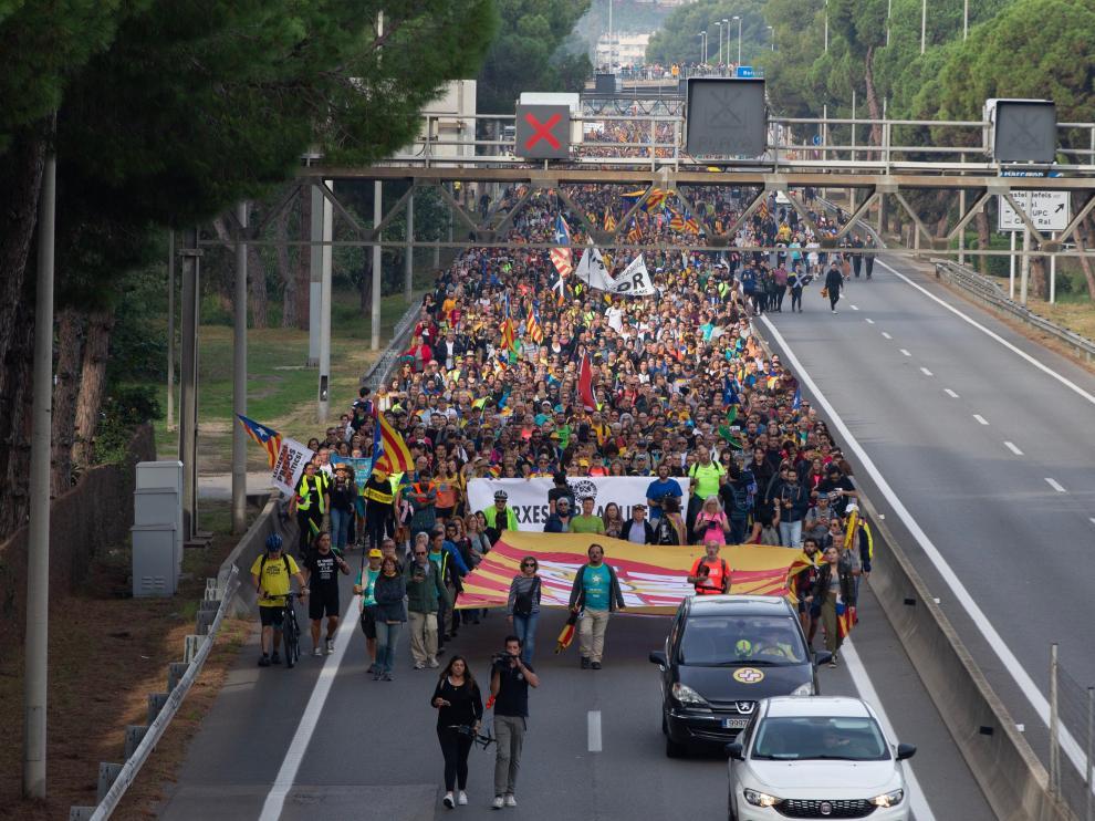 Una de las llamadas 'Marchas por la libertad' llegando a Barcelona
