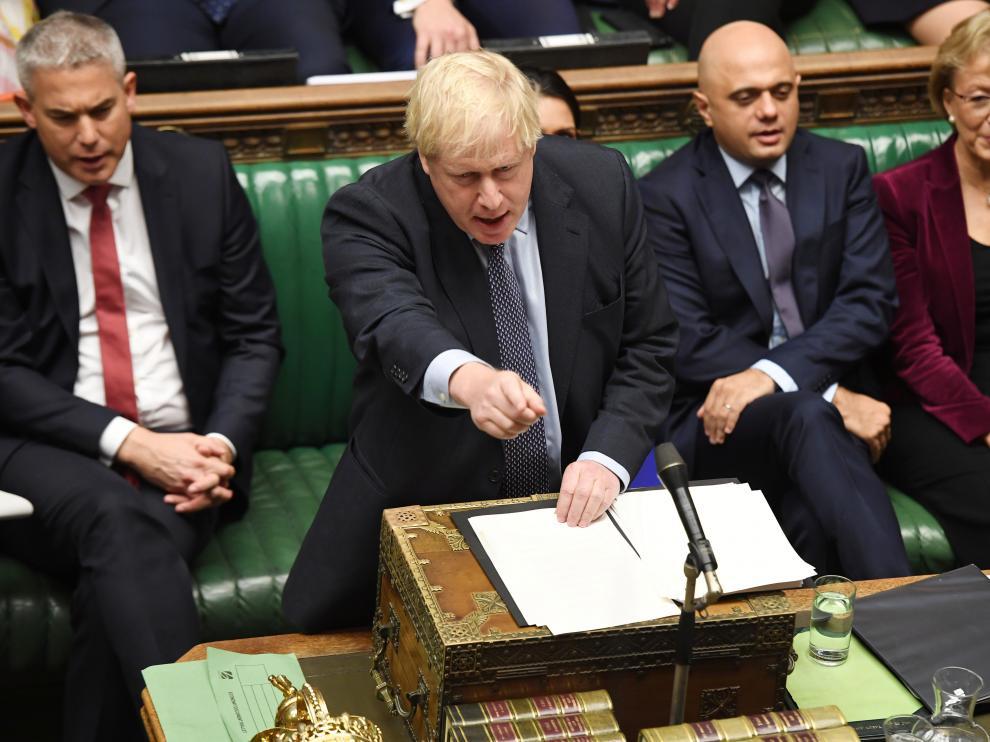 Boris Johnson en un momento de su intervención parlamentaria.
