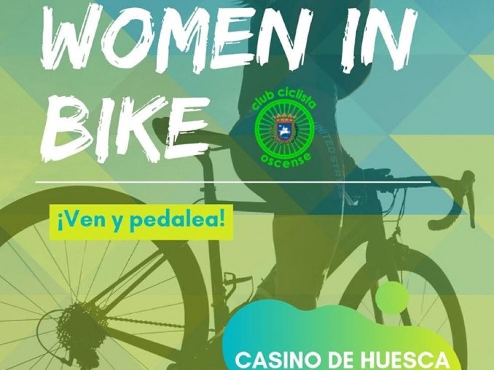 Cartel de la primera salida del grupo de Women in Bike del Club Ciclista Oscense.