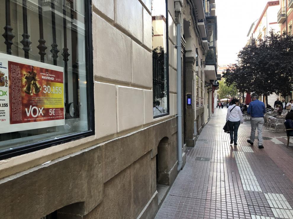 Imagen de la sede de Vox en Zaragoza