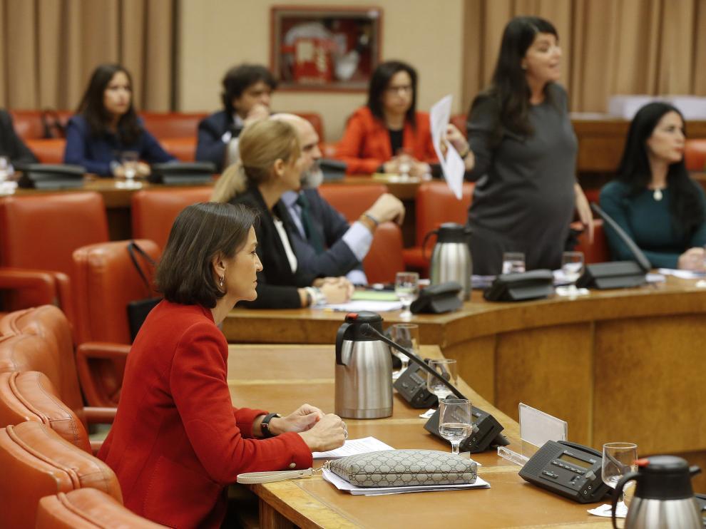 La secretaria general del grupo de Vox, Macarena Olona , de pie, ha sido expulsada de una comisión del Congreso.