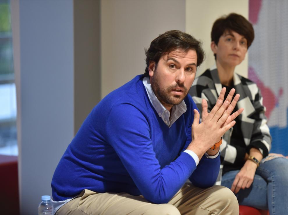 Rubén García, durante el encuentro con prensa y simpatizantes en El Alcoraz.