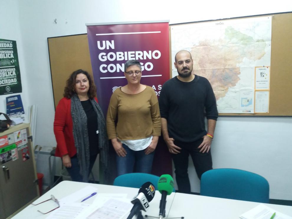 Anabel Gimeno, María Ángeles Manzano y Nicolás López, candidatos de Unidas Podemos por Teruel.