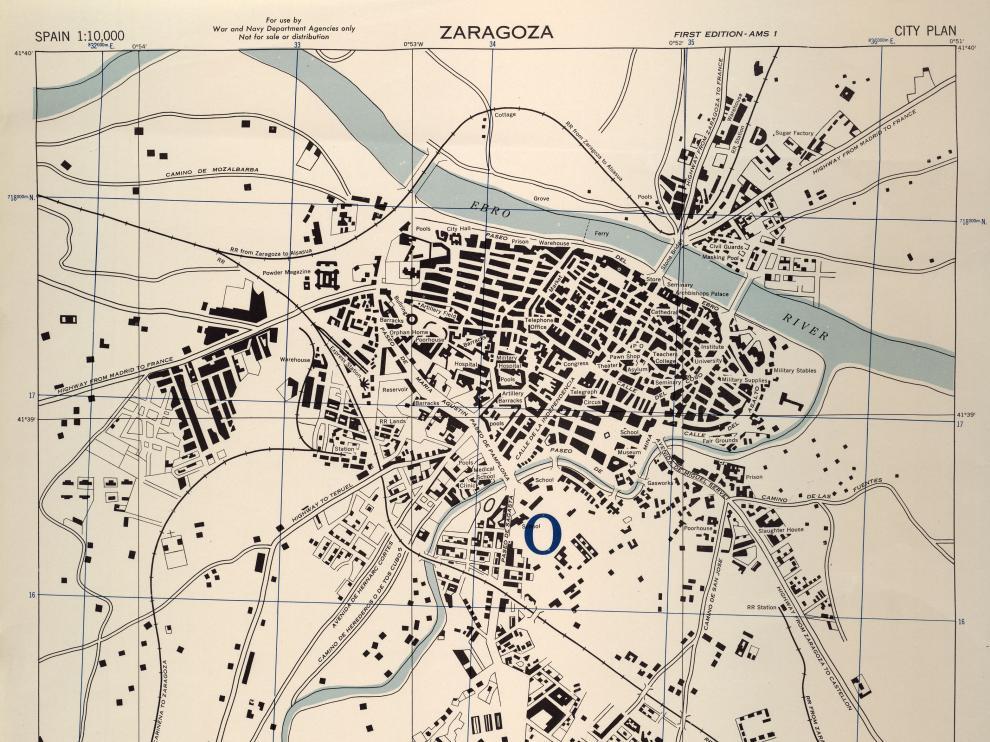 Plano de la Zaragoza de 1943, elaborado por los servicios secretos de Reino Unido y desclasificado ahora por EE. UU.