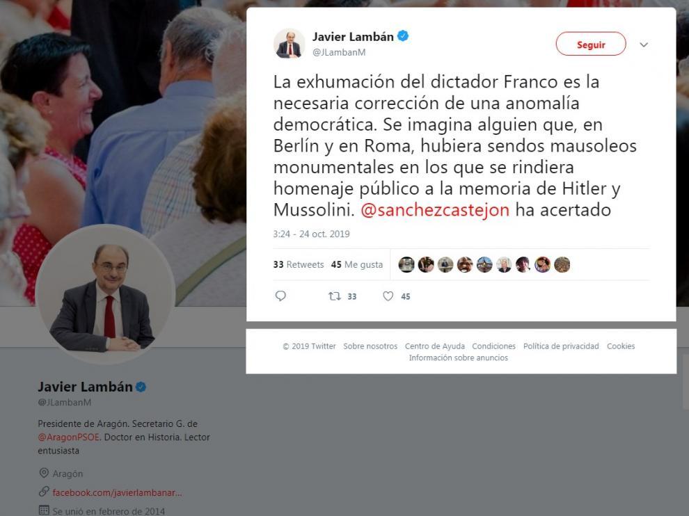 Comentario relativo a la exhumación de Franco publicado por Lambán.
